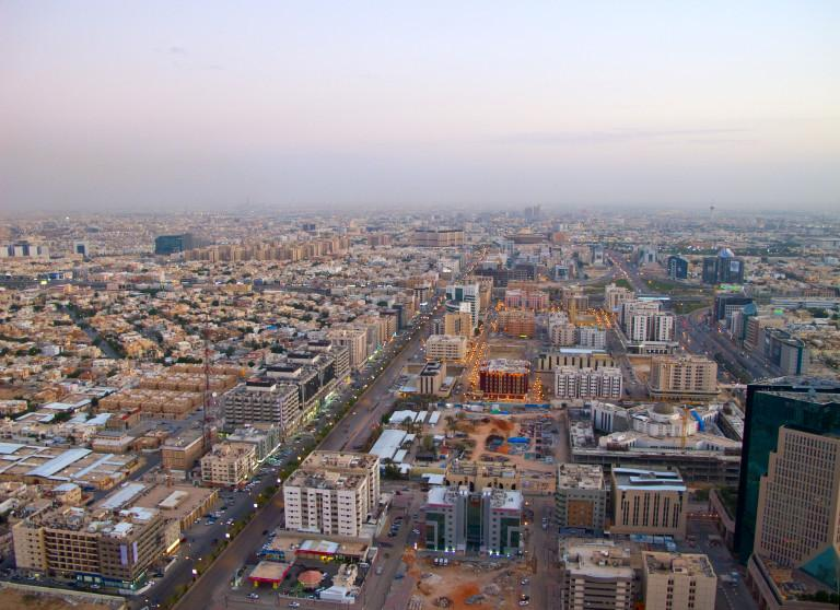 Aerial view of Riyadh city, Saudi Arabia